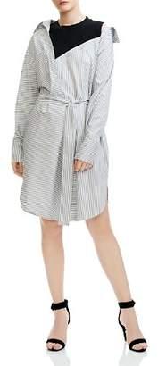 Maje Riava Oversize Striped Shirt Dress