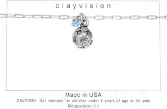 Swarovski Clayvision Soccer Ball (Flat) Charm Bracelet w/4mm Light Sapphire Colored Crystal