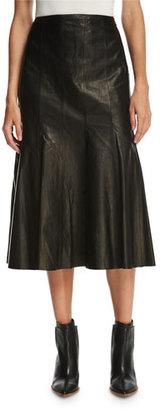 Lafayette 148 New York Aria Lamb Leather Godet Midi Skirt, Black $998 thestylecure.com
