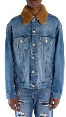 Alexander McQueen Shearling Collar Denim Jacket