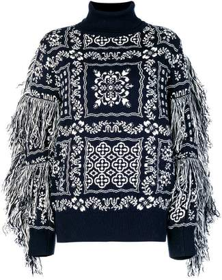 Sacai embroidered roll-neck sweater