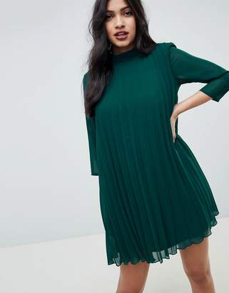 Asos Design DESIGN pleated trapeze mini dress