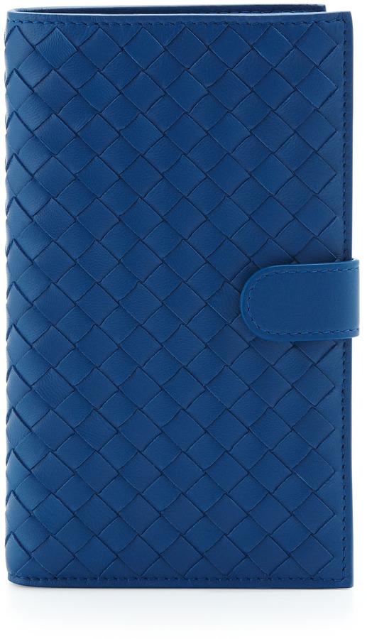 Bottega Veneta Woven Snap-Tab Continental Wallet, Electriq Royal