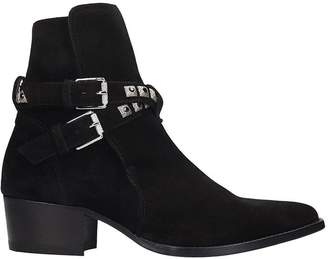 Amiri Jodphur Conch High Heels Ankle Boots In Black Suede