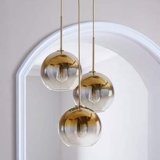 west elm Sculptural Glass Globe 3-Light Chandelier - Medium (Gold Ombre)