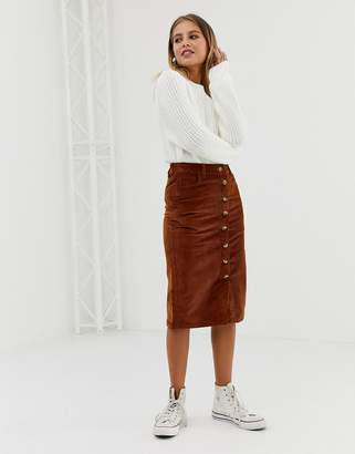 New Look button through pencil skirt in rust