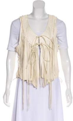 True Religion Fringe-Accented Leather Vest