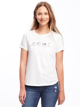 Relaxed Graphic Curved-Hem Tee for Women $14.94 thestylecure.com