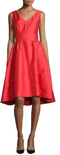 Kate Spade Kate Spade New York Sleeveless Satin High-Low Dress, Red