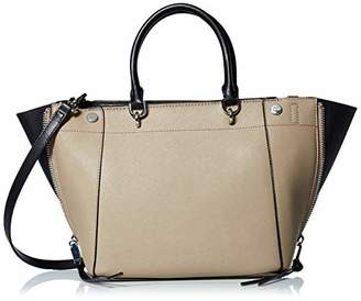 Calvin Klein Doris Saffiano Leather Trapeze Top Zip Satchel