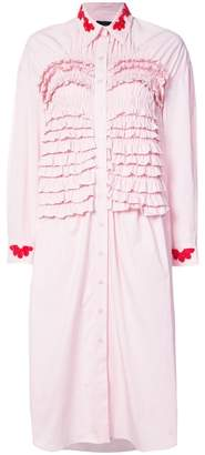 Simone Rocha frill ruched dress with beaded appliqué