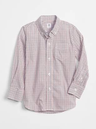 Gap Uniform Poplin Long Sleeve Shirt in Plaid