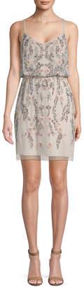 Adrianna Papell Floral Beaded Blouson Mini Dress