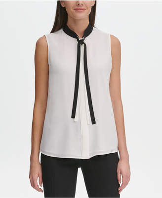 3ef90bdb329250 Tommy Hilfiger Sleeveless Tie-Neck Blouse