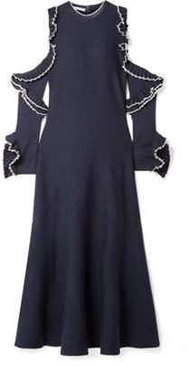 Oscar de la Renta Cold-shoulder Ruffled Wool Midi Dress - Navy