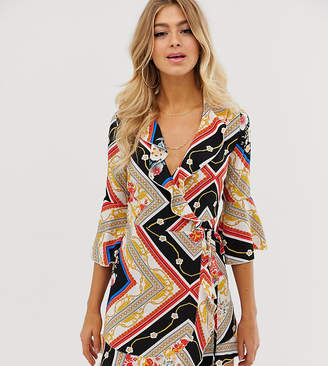 Outrageous Fortune ruffle wrap dress with fluted sleeve in scarf print