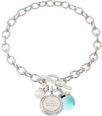 Rebecca Hollywood Stone Rhodium Over Bronze Chain Bracelet w/Hydrothermal Turquoise Stone and Glass Pearl