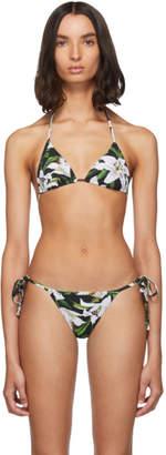Dolce & Gabbana Black Lilium String Bikini Top