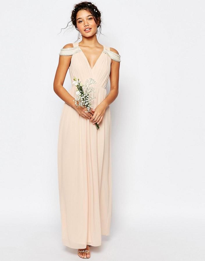 Tfnc wedding cold shoulder wrap front maxi dress sold out for Tfnc wedding wrap maxi dress