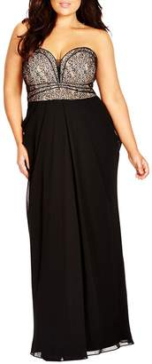 City Chic Motown Strapless Lace & Chiffon Maxi Dress