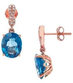 Lord & Taylor Diamond, Blue Topaz and 14K Rose Gold Stud Earrings