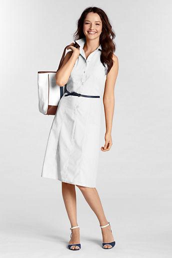Lands' End Women's Regular Sleeveless Poplin Dress
