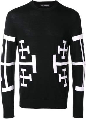 Neil Barrett geometric motif jumper