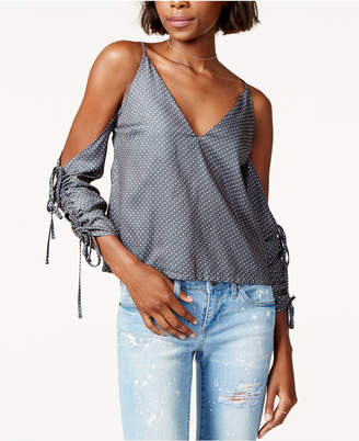 MinkPink Dot-Print Cold-Shoulder Top