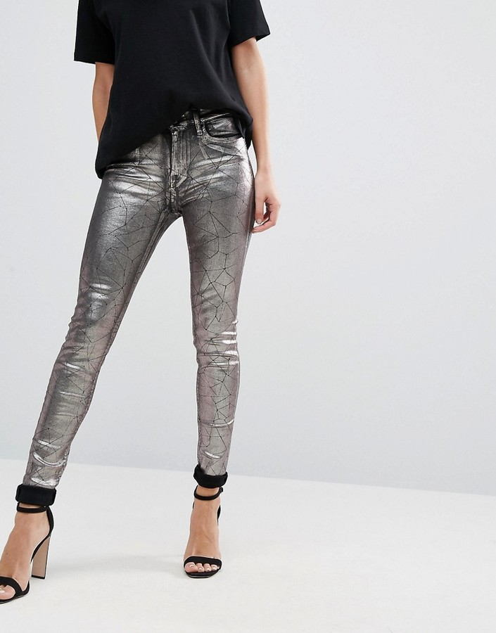 ReplayReplay Metallic Super Skinny High Rise Jeans