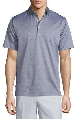 Peter Millar Jacquard Short-Sleeve Lisle Knit Polo Shirt, Gray $98 thestylecure.com