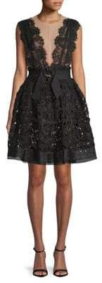 Lanvin Lace Fit-and-Flare Dress