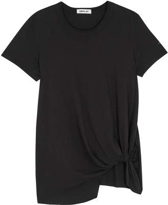Replay Black Twisted Cotton T-shirt
