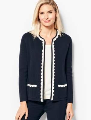 Talbots Tipped Scalloped-Edge Sweater Jacket