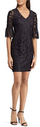Chaps Floral Lace Ruffle Sleeve Day Dress