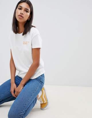 Noisy May Embroidery Slogan T-Shirt