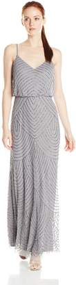 Adrianna Papell Women's Missy Long Beaded Blouson Dress