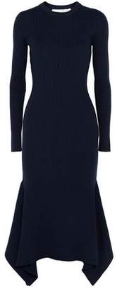Victoria Beckham Asymmetric Ribbed Wool Midi Dress