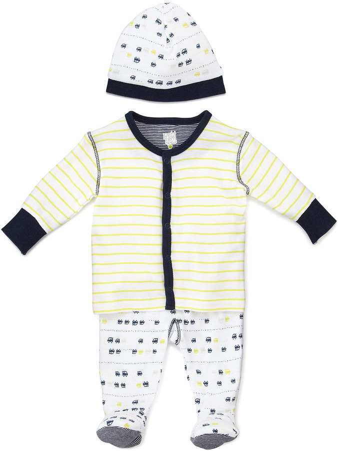 Petit Lem Racecar Pajamas and Hat Set, 0-6 Months