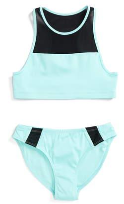 Zella Mesh Trim Two-Piece Swimsuit