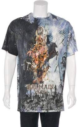 Balmain Distressed Graphic T-Shirt w/ Tags