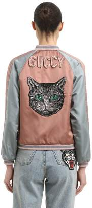 Gucci Embroidered Silk Duchesse Bomber Jacket