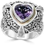 Effy 18K Gold, Sterling Silver, Diamond and Amethyst Heart Ring