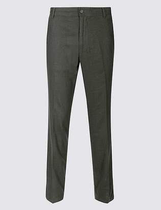 Marks and Spencer Slim Fit Linen Rich Trousers