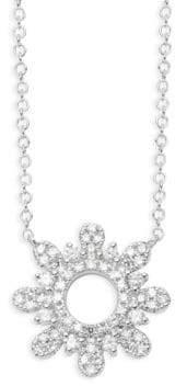 Saks Fifth Avenue Diamond 14K White Gold Sunburst Pendant Necklace