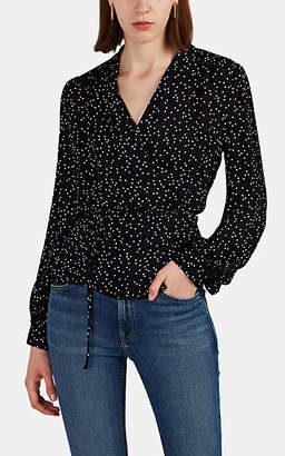 L'Agence Women's Cara Polka Dot Silk Wrap Blouse - Black