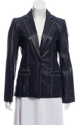 Gianfranco Ferre Leather Notch-Lapel Blazer