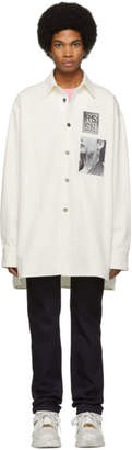 Raf Simons White Oversized Patches Shirt