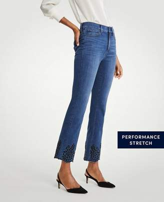 Ann Taylor Eyelet Flare Crop Jeans