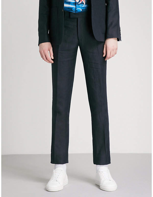 Slim-fit tapered linen trousers