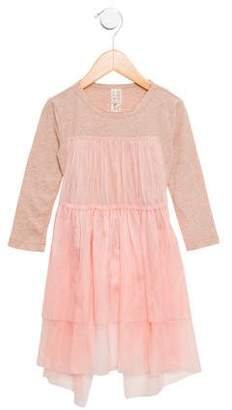 Tia Cibani Girls' Tulle-Paneled Tie-Accented Top w/ Tags